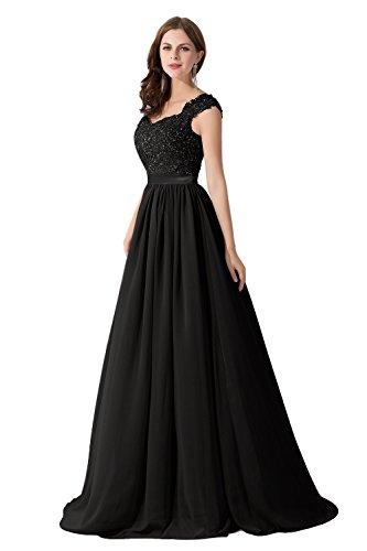 Damen Elegant Herzform Abschlussballkleid mit Perlen A-Linie lang Schwarz 42