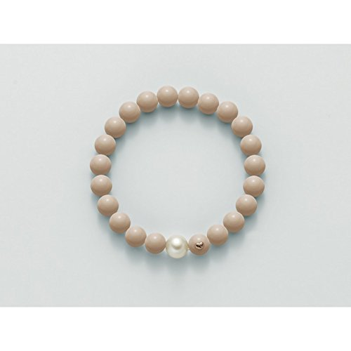 Miluna - Bracciale elastico Miluna con corallo rosa pelle d'angelo e perla