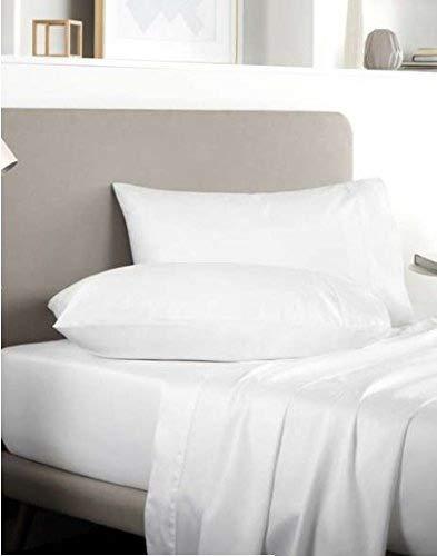 Par de fundas de almohada de lujo Rayyan Linen de algodón egipcio de 400 hilos, color blanco, 50 x 75 cm | Solo fundas de almohada
