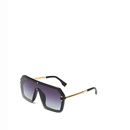 MOLUO Sonnenbrille Hip-Hop-Sonnenbrillen übertrieben großen Rahmen verbunden Sonnenbrillen rahmenlose Männer Frauen Briefe Linsen Mode Sonnenbrillen Geschenke, schwarz grau