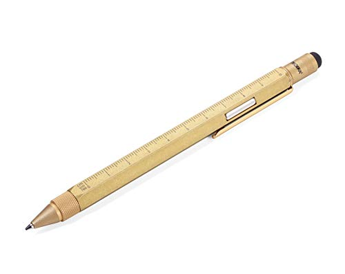 TROIKA CONSTRUCTION MAGNET - PIP29/AB - Multitasking-Kugelschreiber - integr. Magnet zur Befestigung - technisches Zeichnen - für Werkstatt, Kühlschrank & Schreibtisch - Zentimeter-/Zoll-Lineal