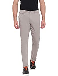 RUF & TUF Solid Grey Coloured Slim Fit Chinos