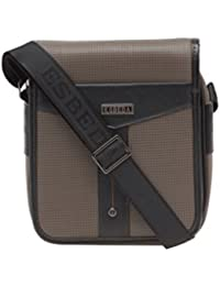 ESBEDA Color Apricot Checkered Pu Synthetic Material Slingbag For Men's
