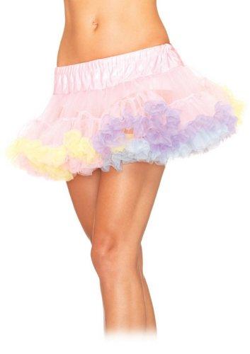 Leg Avenue Rainbow Multi farbige Mini Tüll Petticoat-Rock getrimmt-A1838