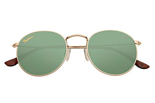 Capraia Bellone Cool Round Festival Sunglasses High Quality Golden Metal Frame and Green Polarised Lenses UV400 protected Mens Womens