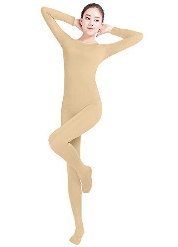Mädchen-Frauen gut passen Lycra Spandex One Piece Ganzanzug Ganzkörper Zentai Bodysuit (nude, S) (Nylon Spandex Bodysuit)