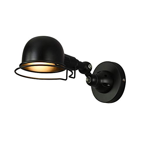 GaoHX Wandlampe Wandleuchte, Rocker Arm Retro universal teleskopische Lesebett Nachttisch amerikanische Wandlampe industrielle Falzmaschine mit rotierenden Schalter (Color : Black-A)