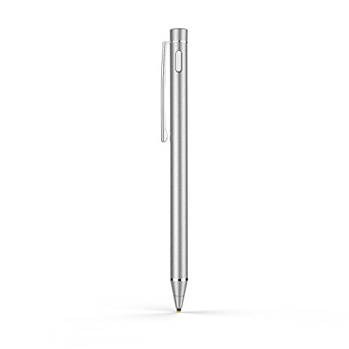 Moko Stylus Actif, 1.8mm Haute Précision Stylo Capacitif Universel, Compatible avec tous les appareils iOS / Android / Microsoft à Ecran Tactile, iPad, iPhone, Samsung, Google, LG etc. Argent