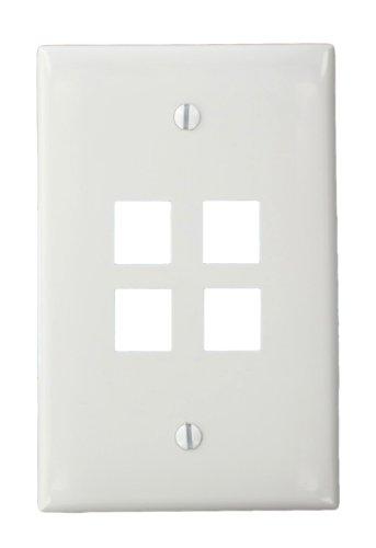 Leviton 41091-4WN QuickPort Midsize Wallplate, Single Gang, 4-Port, White by Leviton Quickport Single