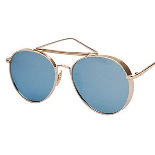 Verdicken Große Rahmen-Sonnenbrille Farbe Film Reflektierende blau