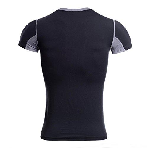 Jiayiqi Männer Sport T-Shirt Kontrast Farbe Mesh T-Shirt Atmungsaktiv L-4XL Schwarz