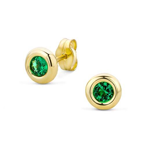 er Ohrringe Set,Gelbgold Ohrstecker 9Karat (375) mit Smaragd ()
