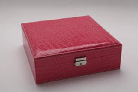 MCYYY Box Modeschmuckschatulle Mit Spiegel Leder Schmuckschatulle Doppel AufbewahrungsBox Krokoprägung Leder Schmuckhalter Für Den RingRose rot -
