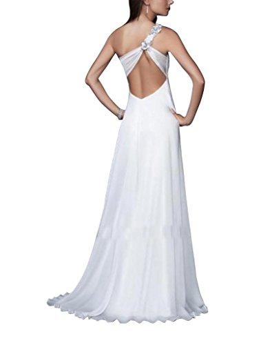 GEORGE BRIDE Mantel / Spalte einer Schulter Schein Vorder AbendKleid mit Perlen  Applikationen Weiß