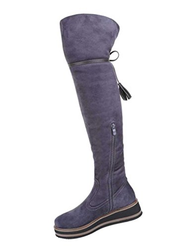 Damen Overknee Stiefel Schuhe Mit Keil Blau Grau Rot 36 37 38 39 40 41 Grau