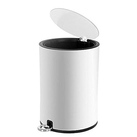 Dula® Poubelle Poubelle à pédale simple Mute en acier inoxydable poubelles Maison européenne Toilettes de cuisine Salon Chambre à coucher Poubelle, blanc, 8 l