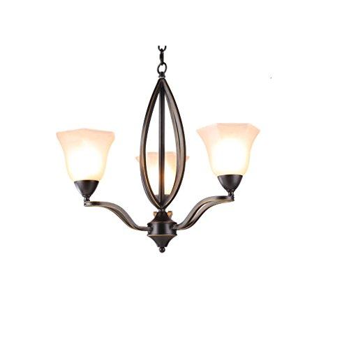 LOFAMI Europäischer Anhänger Glas Kronleuchter Bügeleisen Droplight Wohnzimmer Study Hotel Dekoration Deckenleuchte (Größe : 3 light) -