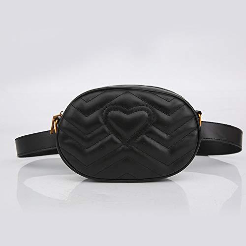 Sruma - Mode-Herz-Rosa-Sommer-Frauen Hüfttasche Designer Ketten-Schulter-Umhängetaschen Fanny Pack Brusttasche für Mädchen Kleines Belt Pack Black []