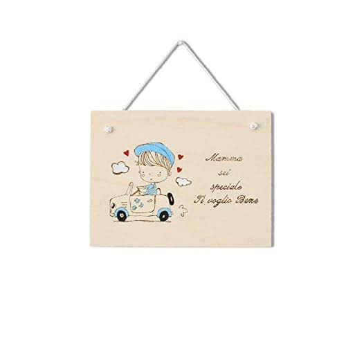 Targa regalo Festa della Mamma o compleanno in legno personalizzabile tema bambino con auto