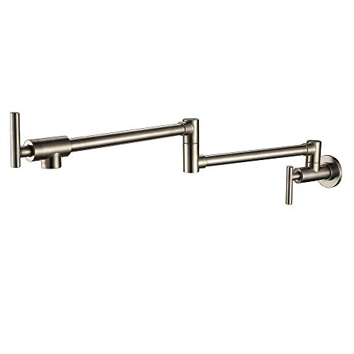 Antique Pot Filler Wall Mounted Tap Extension, Folding 360 Degree Rotating Retractable Water Tap Sink Mixer Wall Mounted Cold Water Tap Two Handles Single Brass Oil Rubbed Bronze, Silver, -