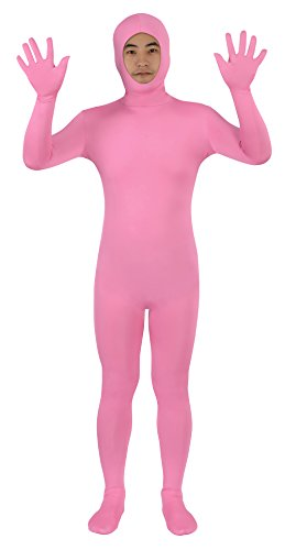Sheface Spandex Open Face Zentai Suit Halloween Costumes (Medium, Pink)