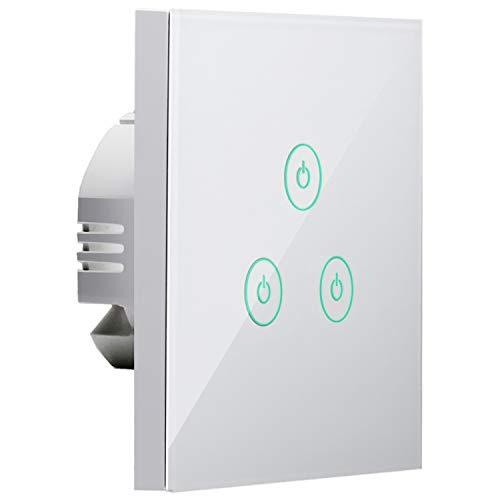 Wifi Smart Interruttore da Parete Intelligente 1/2/3 Gang Pannello Touch LED Antiurto Elettrico, Funzione Timer, App Controllo Remoto, Compatibile con Amazon Alexa, Google Home e IFTTT, Meross MSS530H