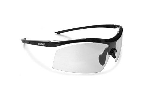 Radbrille Selbsttönend Polarisiert – Fahrradbrille Photochrome Sportbrille Sonnenbrille Ski Laufen Golf Running by Snatch Italy (Matt Schwarz / Shiny Schwarz, Photochromen)