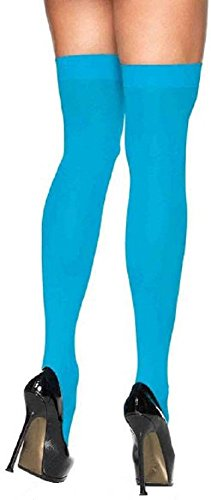 (Leg Avenue Damen Overknee Strümpfe Nylon 70 DEN Neon Blau Einheitsgröße 36 bis 40)