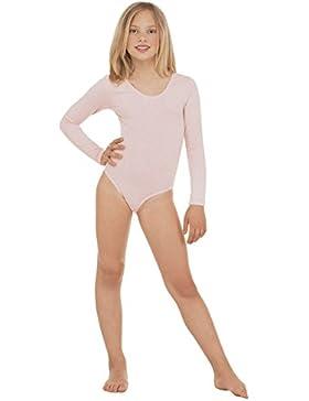 Body in cotone a maniche lunghe, Elasticizzato, da danza/ginnastica/Sport, da bambina, vari Colori e Taglie Ref...
