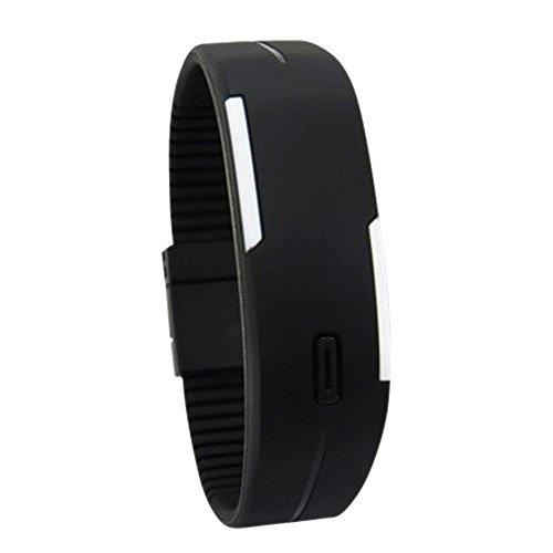 Reloj de pulsera digital LED Everpert, de goma, deportivo, para hombres y mujeres negro negro