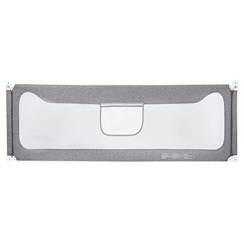 Barandilla de cama HUO barandilla Infantil Portátil Estable Barrera Seguridad Ajustable Barrera De Seguridad para Cama Diseo De Elevación Barrera Cama Abatible (Color : Gray, Tamaño : 200cm)