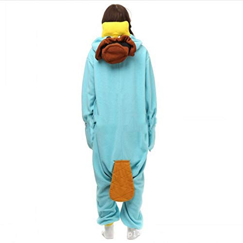 DASENLIN Pyjama Kostüm Cosplay Jumpsuit Overall Fleece Schnabeltier Tiercartoon Verbunden Lange Ärmel Winter, L