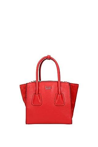 Handtasche Prada Damen Leder Rot und Silber 1BA025LACCAN Rot 13x20x21.5 cm