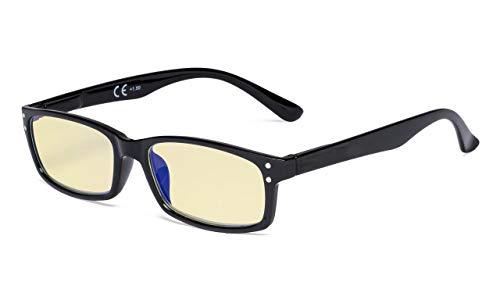 Eyekepper Computerbrille mit Blaulichtblocker und gelber Filterlinse-UV420-Schutz.Anti-Augenbelastung.Erleichterung Müdes Auge.Lesebrille Damen Herren,Schwarz+0.75