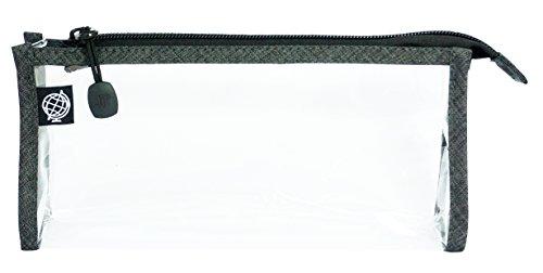 Transparenter Kulturbeutel Kulturtasche / Handgepäck, Flugzeug, Reise / transparent, durchsichtig / seitliche Nähte aus grauem Oxford Polyester