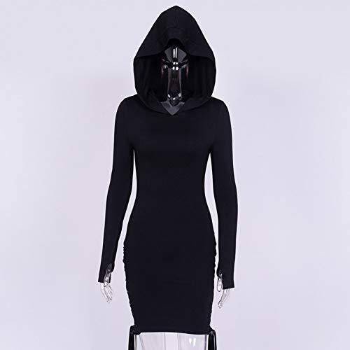 DRLVMO Gothic Mit Kapuze Kleid Langarm Mond Druck Frauen Kleidung Spitze Up Plain Schwarz Punk Stil Kleider Frühling Frauen Casure Kleid (Für Frauen Kleid-up Kleidung)