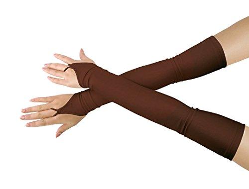 lucky baby store Mädchen 'Boys' Erwachsene Halloween Make-Up Fingerlose Über Elbow Cosplay Kostüm Handschuhe (dark brown)