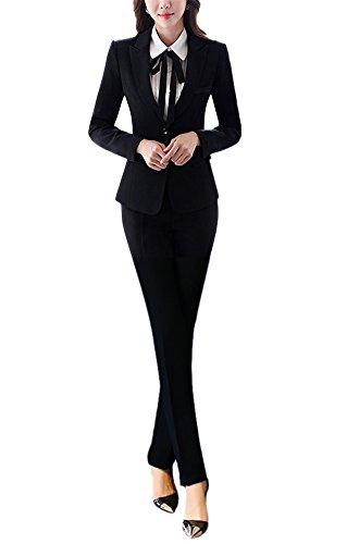 Karriere-hosen-anzug (SK Studio Damen Hoseanzug Slim Fit Business Anzughose Karriere Lange Ärmel Hose Blazer Kombinationen Schwarz Blazer + Hose 36 Tag XL)