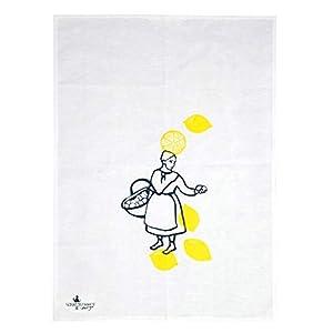 Handmade Designer Geschirrtuch – Hamburger Original Zitronenjette – 50×70 cm Halbleinen – Handsiebdruck aus eigenem Atelier