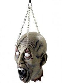 ennter Splatter Kopf mit weit aufgerissenen Augen an denen Ketten hängen Kerker Folterkammer Deko Schocker perfekte Hänge deko für Halloween Piercing Monster Splatter Sensation wie echt ()