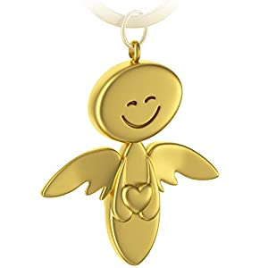 FABACH Schutzengel Schlüsselanhänger Smile mit Herz – Edler Engel Anhänger aus Metall in glänzendem Rosegold – Geschenk Glücksbringer Auto Führerschein – Fahr vorsichtig