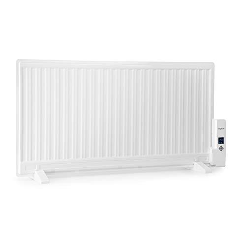 OneConcept Wallander • radiateur à Bain d'huile • Chauffage fioul • Chauffage électrique • 1000W • Thermostat • minuterie • écran • Ultra-Plat • Montage au Sol ou Mural • Blanc