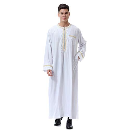 VRTUR Herren Kaftan Im Saudi-Stil, WüSten Robe Arabisch Saudi Mantel Mishlah Sheikh Royalty Omani Dubai Gulf Schwarz Oder Weiß (Medium,X-Weiß) -
