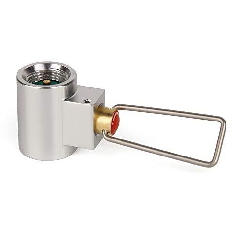 Haiyemao Edelstahlschnalle Flachgas Tank Adapter Ventil Kanister Gas Konverter Shifter Camping Zylinder Refill Adapter Rucksack-Schlüsselanhänger für Bergsteiger -