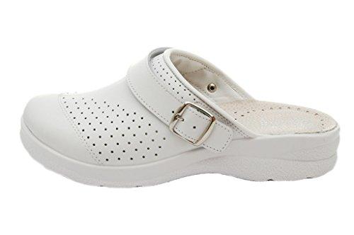 Dr Punto Rosso Medical Comfort 812SBR Komfortschuhe Lederschuhe Pantolette Clog Damen Weiß