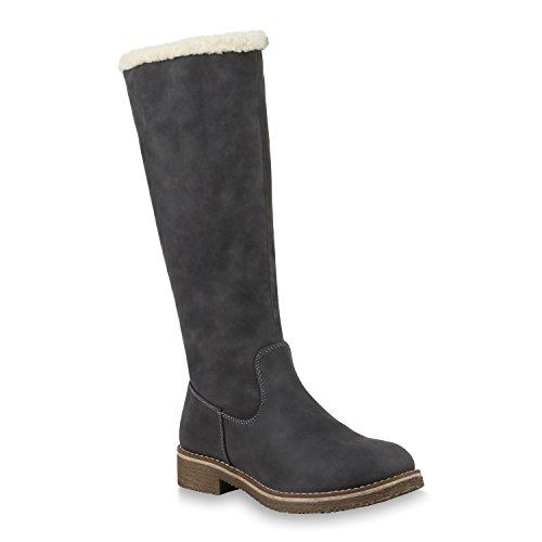 Stiefelparadies Warm Gefütterte Stiefel Damen Winterstiefel Damen Boots Schnallen Profilsohle Schuhe Kunstfell Winterschuhe Flandell Grau Weiss