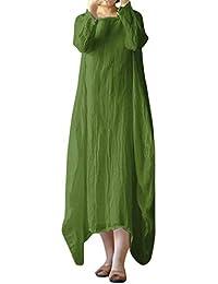 Vestido para Mujer ,BBestseller Mujer Vestido Blusa de Solapa Casual para Mujer Manga Larga con