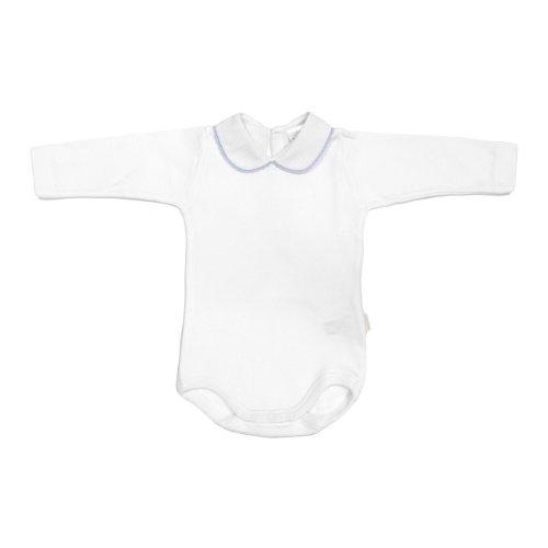 Cambrass Unisex Baby Round Croquet Edge Collar Long Sleeve Bodysuit Blue 18 Months