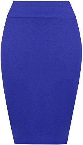 PrettyFashion Frauen Midi Bleistiftrock Damen Jersey Figurbetontes Schlauchrock Plus Größe 8 - 22. Blau