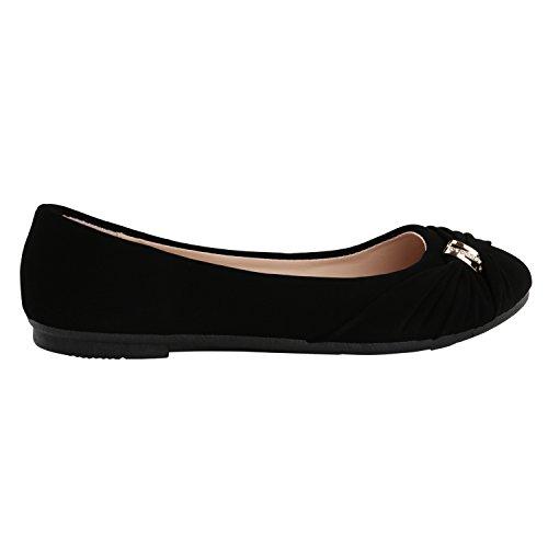 Klassische Damen Schuhe   Strass Ballerinas   Elegante Slipper  Übergrößen   Metallic Glitzer Flats Schwarz Carora